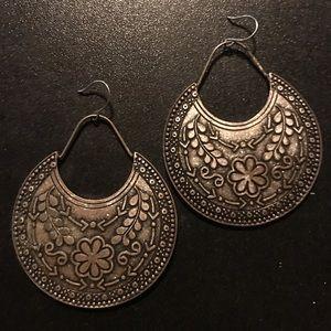 Metal earrings with beautiful embossed florals